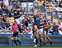 29th May 2021; Sixways Stadium, Worcester, Worcestershire, England; Premiership Rugby, Worcester Warriors versus Leicester Tigers; Nemani Nadolo of Leicester Tigers catches the ball under pressure from Perry Humphreys of Worcester Warriors