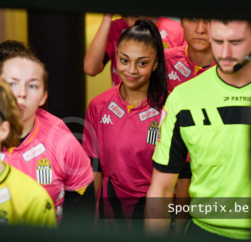 Jessica Silva Valdebenito (18) of Sporting Charleroi pictured during a female soccer game between RSC Anderlecht Dames and Sporting Charleroi on the 13 th matchday of the 2020 - 2021 season of Belgian Womens Super League , friday 5 th of February 2021  in Tubize , Belgium . PHOTO SPORTPIX.BE | SPP | DAVID CATRY