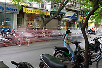 Hanoi<br /> , Vietnam - 2007 File Photo -<br /> <br /> artistic motion blur of  vietnameses driving a motorcycles in a street of hanoi.<br /> <br /> <br /> <br /> photo : James Wong-  Images Distribution