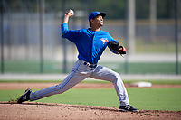 Toronto Blue Jays pitcher Emerson Jimenez (56) delivers a pitch during an Instructional League game against the Pittsburgh Pirates on October 14, 2017 at the Englebert Complex in Dunedin, Florida.  (Mike Janes/Four Seam Images)