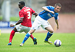 St Johnstone v York City...19.07.14  <br /> Connor McLaren turns Femi Ilesanmi<br /> Picture by Graeme Hart.<br /> Copyright Perthshire Picture Agency<br /> Tel: 01738 623350  Mobile: 07990 594431