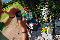 "Young Colombian men take snapshots of themselves while visiting the tomb of the drug lord Pablo Escobar at the cemetery of Montesacro, in Itagüí, Colombia, 2 December 2017. Twenty five years after Pablo Escobar's death, the legacy of the Medellín Cartel leader is alive and flourishing. Although many Colombians who lived through the decades of drug wars, assassinations, kidnappings, reject Pablo Escobar's cult and his celebrity status, there is a significant number of Colombians who admire him, worshipping the questionable ""Robin Hood"" image he had. Moreover, in the recent years, the popular ""Narcos"" TV series has inspired thousands of tourists to visit Medellín, creating a booming business for many but causing a controversial rise of narco-tourism."