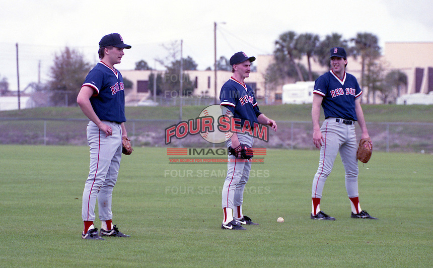 Boston Red Sox pitchers Paul Quantrill, Scott Taylor, Peter Hoy during spring training circa 1992 at Chain of Lakes Park in Winter Haven, Florida.  (MJA/Four Seam Images)