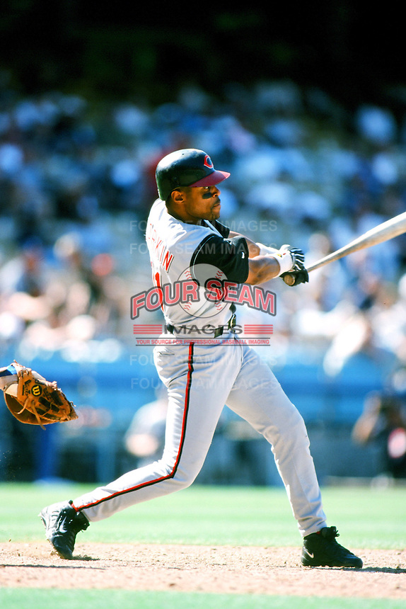 Barry Larkin of the Cincinnati Reds bats during a 1999 Major League Baseball season game against the Los Angeles Dodgers in Los Angeles, California. (Larry Goren/Four Seam Images)