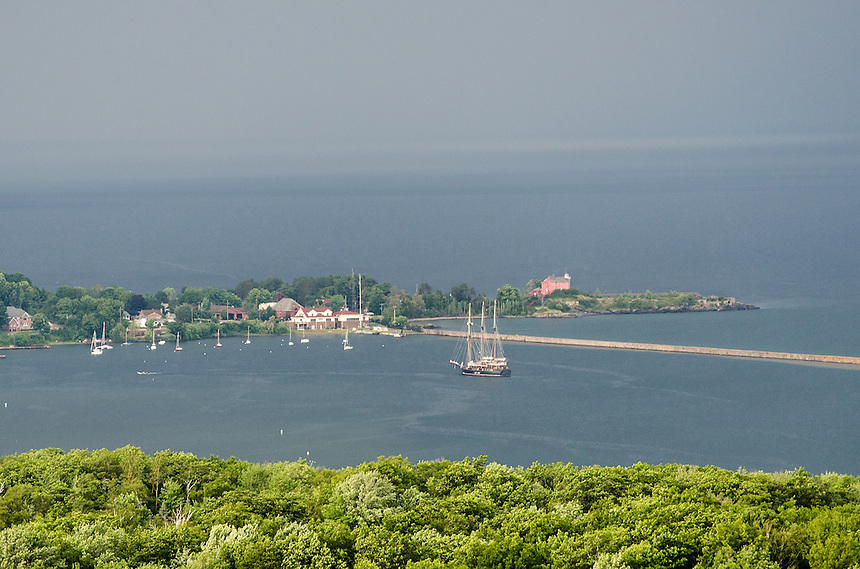 A bird's-eye view of the tall ship Peacemaker after arriving in Marquette's Lower Harbor. Marquette, MI