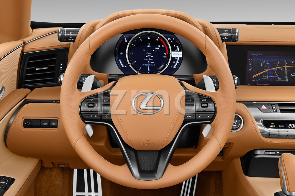 Car pictures of steering wheel view of a 2021 Lexus LC 500-Base 2 Door Convertible Steering Wheel