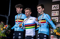Men's Junior race podium:<br /> <br /> 1st place - Thibau Nys (BEL)<br /> 2nd place - Lennart Belmans (BEL)<br /> 3th place - Emiel Verstrynge (BEL)<br /> <br /> <br /> UCI 2020 Cyclocross World Championships<br /> Dübendorf / Switzerland<br /> <br /> ©kramon