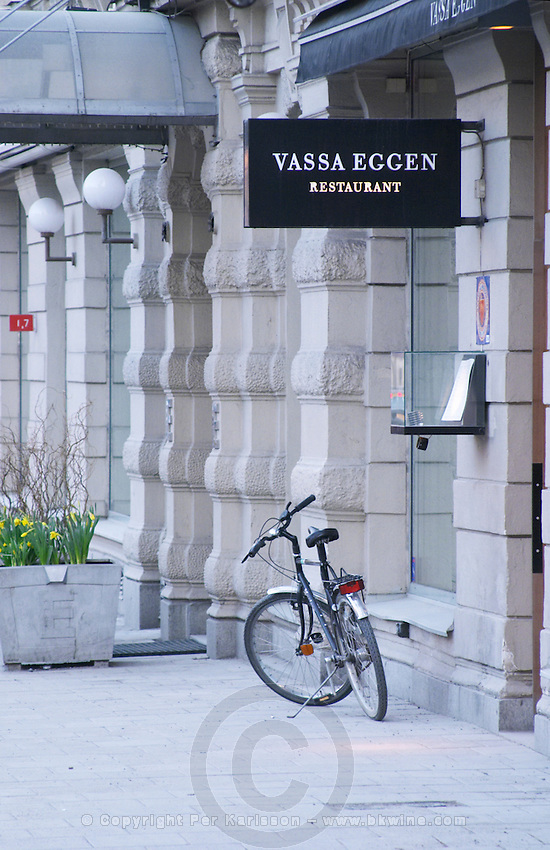 The entrance to the high class gastronomic restaurant Vassa Eggen (the sharp edge) with a bicycle parked outside Stockholm, Sweden, Sverige, Europe