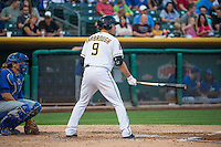 Alex Yarbrough (9) of the Salt Lake Bees at bat against the Iowa Cubs in Pacific Coast League action at Smith's Ballpark on August 20, 2015 in Salt Lake City, Utah. The Cubs defeated the Bees 13-2.  (Stephen Smith/Four Seam Images)