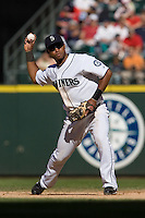 September 28, 2008: Seattle Mariners second baseman Luis Valbuena makes a throw to first base during a game against the Oakland Athletics at Safeco Field in Seattle, Washington.