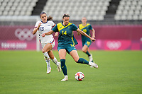 KASHIMA, JAPAN - JULY 27: Alanna Kennedy #14 of Australia moves with the ball before a game between Australia and USWNT at Ibaraki Kashima Stadium on July 27, 2021 in Kashima, Japan.
