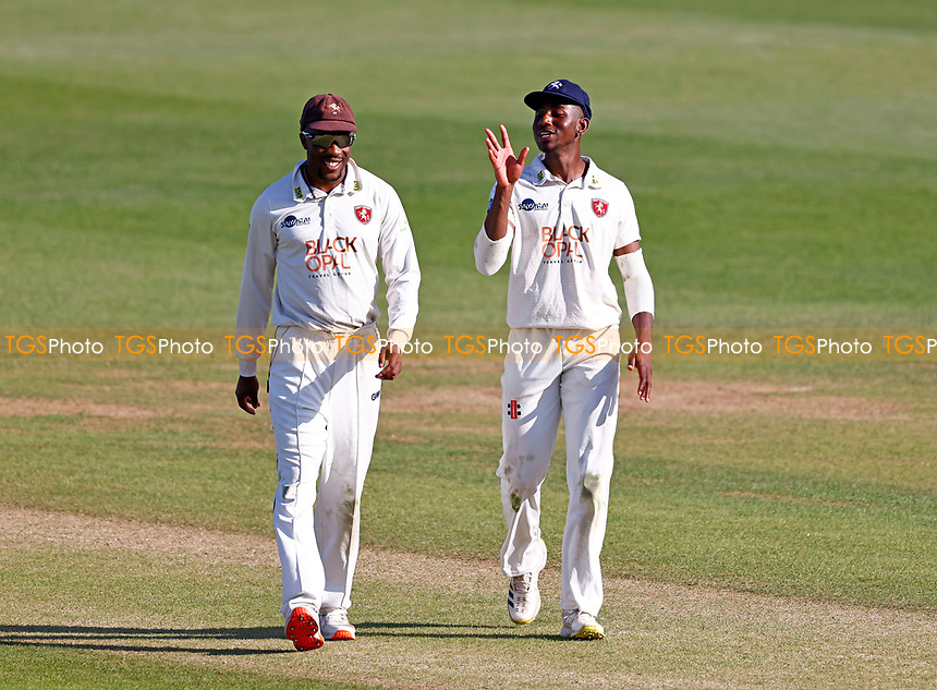 Daniel Bell-Drummond (L) and Tawanda Muyeye of Kent share a joke during Kent CCC vs Northamptonshire CCC, LV Insurance County Championship Group 3 Cricket at The Spitfire Ground on 3rd June 2021