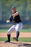 Pittsburgh Pirates pitcher Evan Piechota (63) during a minor league Spring Training game against the Atlanta Braves on March 13, 2018 at Pirate City in Bradenton, Florida.  (Mike Janes/Four Seam Images)