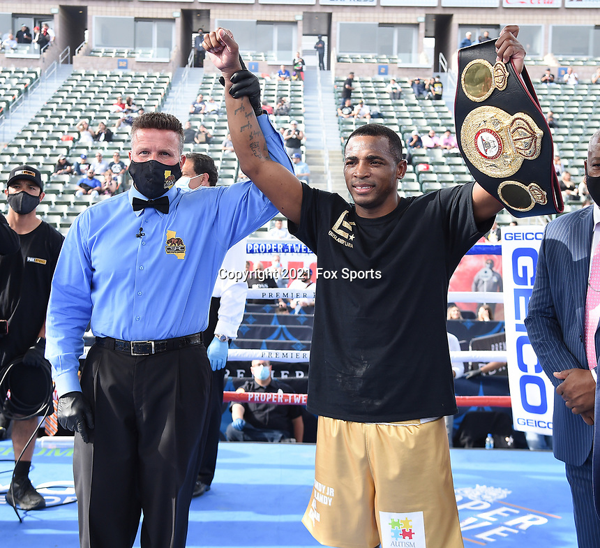 CARSON, CA - MAY 1: Erislandy Lara after defeating Thomas LaManna on the Fox Sports PBC fight night on May 1, 2021 at Dignity Health Sports Park in Carson, CA. (Photo by Frank Micelotta/Fox Sports/PictureGroup)
