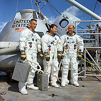 """13 November 1968<br />  file photo<br /> <br /> The Crew of Apollo 10 (as chosen by NASA)<br /> Left to right:<br /> <br /> Eugene A. """"Gene"""" Cernan, lunar module pilot,<br /> <br /> John W. Young, command module pilot, and<br /> <br /> Thomas P. Stafford, commander"""