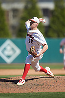 Georgia Bulldogs relief pitcher Aaron Schunk (22) in action against the LSU Tigers at Foley Field on March 23, 2019 in Athens, Georgia. The Bulldogs defeated the Tigers 2-0. (Brian Westerholt/Four Seam Images)