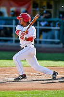 Jahmai Jones (15) of the Orem Owlz at bat against the Grand Junction Rockies in Pioneer League action at Home of the Owlz on July 6, 2016 in Orem, Utah. The Owlz defeated the Rockies 9-1 in Game 1 of the double header.  (Stephen Smith/Four Seam Images)