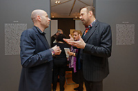 "Pictured L-R: Art dealer Peter Bernaerts and musician Jim Sclavunos. Wednesday 03 April 2019<br /> Re: Press call before the opening of Stefanos Rokos' exhibition ""No More Shall We Part"" with paintings based on the 2001 Nick Cave and The Bad Seeds album with the same title, Benaki Museum, Athens, Greece."