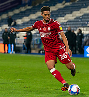 3rd November 2020; The John Smiths Stadium, Huddersfield, Yorkshire, England; English Football League Championship Football, Huddersfield Town versus Bristol City; Zak Vyner of Bristol City on the ball  Strictly Editorial Use Only. No use with unauthorized audio, video, data, fixture lists, club/league logos or 'live' services. Online in-match use limited to 120 images, no video emulation. No use in betting, games or single club/league/player publications