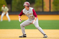 Seth Miller #18 of the Florida State Seminoles takes his lead off of first base against the Wake Forest Demon Deacons at Wake Forest Baseball Park on March 25, 2012 in Winston-Salem, North Carolina.  The Demon Deacons defeated the Seminoles 7-5.  (Brian Westerholt/Four Seam Images)