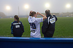 Leeds United Ladies 1 Nottingham Forest Ladies 1, 13/11/2011. Throstle Nest, FA Premier League National Division. Leeds United Ladies FC manager Chris Welburn (right) giving instructions to substitute player Jess Holbrook during the second half against Nottingham Forest Ladies FC in an FA Premier League National Division fixture at the Throstle Nest, Farsley, West Yorkshire. The match ended in a one-all draw, watched by fewer than 50 spectators at the club's regular home ground. Formed in 1989, Leeds United Ladies has been one of England's top women's sides for most of the last ten years and played in the top winter league for ladies' teams. Photo by Colin McPherson.