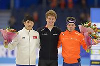 SCHAATSEN: HEERENVEEN: 15-12-2018, ISU World Cup, Podium 1500m Men Division B, Jin-Su Kim (KOR), Mathias Vosté (BEL), Marcel Bosker (NED), ©foto Martin de Jong