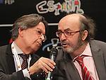 Spanish journalists Lorenzo Diaz (r) and Josemi Rodriguez Sieiro (l) during Madrid Fusion 2013., Madrid.January 21,2013. (ALTERPHOTOS/Alberto Simon)