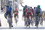 Sam Bennett (IRL) Deceuninck-Quick Step outsprints Elia Viviani (ITA) Cofidis to win Stage 6 of the 2021 UAE Tour running 165km from Deira Island to Palm Jumeirah, Dubai, UAE. 26th February 2021.<br /> Picture: LaPresse/Fabio Ferrari   Cyclefile<br /> <br /> All photos usage must carry mandatory copyright credit (© Cyclefile   LaPresse/Fabio Ferrari)
