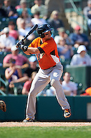 Norfolk Tides shortstop Paul Janish (11) at bat during a game against the Rochester Red Wings on May 3, 2015 at Frontier Field in Rochester, New York.  Rochester defeated Norfolk 7-3.  (Mike Janes/Four Seam Images)
