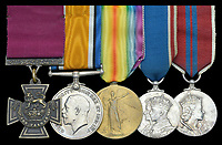 BNPS.co.uk (01202) 558833. <br /> Pic: DixNoonanWebb/BNPS<br /> <br /> Pictured: The medal set awarded to Private James Towers. <br /> <br /> The Victoria Cross awarded to a soldier who volunteered for a suicidal mission after seeing five comrades killed attempting it has today sold for £248,000.<br /> <br /> Private James Towers bravely stepped forward as the sixth man to dash out in front of enemy machine gun posts and try to get a vital message to a cut-off platoon 150 yards away.<br /> <br /> He did this despite witnessing the five previous runners - including his best friend - get cut to pieces.<br /> <br /> Pte Towers, whose medals were sold with Dix Noonan Webb, miraculously survived the mission at Mericourt on the Western Front in the final months of World War One.