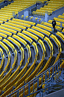 A ball collector searches the seating after a six during the third international men's T20 cricket match between the New Zealand Black Caps and Australia at Sky Stadium in Wellington, New Zealand on Wednesday, 3 March 2021. Photo: Dave Lintott / lintottphoto.co.nz