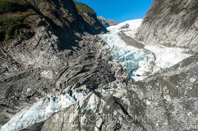 Broken up terminal icefall of retreating Franz Josef Glacier, Westland National Park, West Coast, World Heritage, South Island, New Zealand