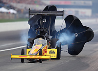 Aug 31, 2019; Clermont, IN, USA; NHRA top fuel driver Richie Crampton during qualifying for the US Nationals at Lucas Oil Raceway. Mandatory Credit: Mark J. Rebilas-USA TODAY Sports