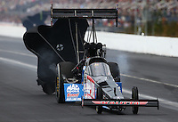 Mar 14, 2015; Gainesville, FL, USA; NHRA top fuel driver J.R. Todd during qualifying for the Gatornationals at Auto Plus Raceway at Gainesville. Mandatory Credit: Mark J. Rebilas-