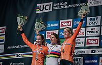 All dutch podium:<br /> - Annemiek van Vleuten (NED/Mitchelton-Scott) retains the rainbow jersey as she once again wins the race<br /> - Anna van der Breggen (NED/Boels-Dolmans) finishes 2nd<br /> - Ellen van Dijk (NED/Sunweb) is 3rd<br /> <br /> WOMEN ELITE INDIVIDUAL TIME TRIAL<br /> Hall-Wattens to Innsbruck: 27.8 km<br /> <br /> UCI 2018 Road World Championships<br /> Innsbruck - Tirol / Austria