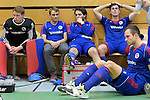 GER - Luebeck, Germany, February 06: Players of Mannheimer HC look dejected after the 1. Bundesliga Herren indoor hockey semi final match at the Final 4 between Uhlenhorst Muelheim (white) and Mannheimer HC (blue) on February 6, 2016 at Hansehalle Luebeck in Luebeck, Germany. Final score 7-5 (HT 2-3). (Photo by Dirk Markgraf / www.265-images.com) *** Local caption ***?(L-R) Lukas Stumpf #4 of Mannheimer HC, Philipp Collot #13 of Mannheimer HC, Timm Haase #27 of Mannheimer HC, Tomas Prochazka #5 of Mannheimer HC