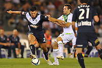 MELBOURNE, AUSTRALIA - FEBRUARY 5, 2010: Nik Mrdja from Melbourne Victory controls the ball in round 26 of the A-league match between Melbourne Victory and North Queensland Fury at Etihad Stadium on February 5, 2010 in Melbourne, Australia. Photo Sydney Low www.syd-low.com