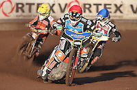 Heat 1: Rory Schlein (red), Richard Lawson (blue) and Ty Proctor (yellow) - Lakeside Hammers vs Wolverhampton Wolves, Elite League Speedway at the Arena Essex Raceway, Pufleet - 04/07/14 - MANDATORY CREDIT: Rob Newell/TGSPHOTO - Self billing applies where appropriate - 0845 094 6026 - contact@tgsphoto.co.uk - NO UNPAID USE