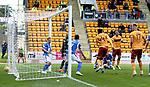 St Johnstone v Motherwell…28.09.19   McDiarmid Park   SPFL<br />Devante Cole scores his goal<br />Picture by Graeme Hart.<br />Copyright Perthshire Picture Agency<br />Tel: 01738 623350  Mobile: 07990 594431