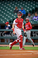 Louisville Bats catcher Chad Wallach (47) during a game against the Columbus Clippers on May 1, 2017 at Louisville Slugger Field in Louisville, Kentucky.  Columbus defeated Louisville 6-1  (Mike Janes/Four Seam Images)