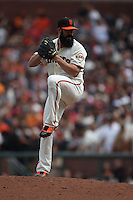 SAN FRANCISCO, CA - AUGUST 7:  Brian Wilson of the San Francisco Giants pitches against the Philadelphia Phillies during the game at AT&T Park on August 7, 2011 in San Francisco, California. Photo by Brad Mangin