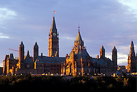 Ottawa, Ontario, Canada, Parliament Buildings in the evening on Parliament Hill.