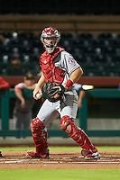 Mesa Solar Sox catcher Stephen McGee (8) checks the runner during an Arizona Fall League game against the Scottsdale Scorpions on October 20, 2015 at Scottsdale Stadium in Scottsdale, Arizona.  Mesa defeated Scottsdale 5-4.  (Mike Janes/Four Seam Images)