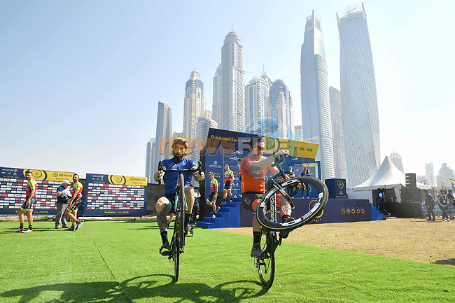 Vittorio Brumotti has some competition as he shows off his skills at sign on before the  start of Stage 5 The Meraas Stage final stage of the Dubai Tour 2018 the Dubai Tour's 5th edition, running 132km from Skydive Dubai to City Walk, Dubai, United Arab Emirates. 10th February 2018.<br /> Picture: LaPresse/Massimo Paolone   Cyclefile<br /> <br /> <br /> All photos usage must carry mandatory copyright credit (© Cyclefile   LaPresse/Massimo Paolone)