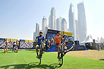 Vittorio Brumotti has some competition as he shows off his skills at sign on before the  start of Stage 5 The Meraas Stage final stage of the Dubai Tour 2018 the Dubai Tour's 5th edition, running 132km from Skydive Dubai to City Walk, Dubai, United Arab Emirates. 10th February 2018.<br /> Picture: LaPresse/Massimo Paolone | Cyclefile<br /> <br /> <br /> All photos usage must carry mandatory copyright credit (© Cyclefile | LaPresse/Massimo Paolone)