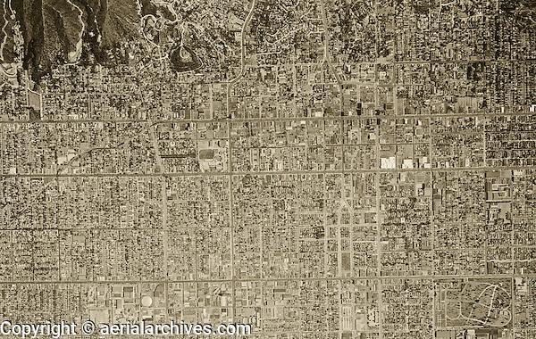 historical aerial photograph Hollywood California 1948