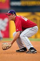 Huntsville first baseman Brad Nelson on defense versus Carolina at Five County Stadium in Zebulon, NC, Wednesday, July 19, 2006.