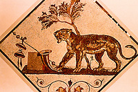 Roman Art:  Mosaic--Panther.  National Museum, Naples.