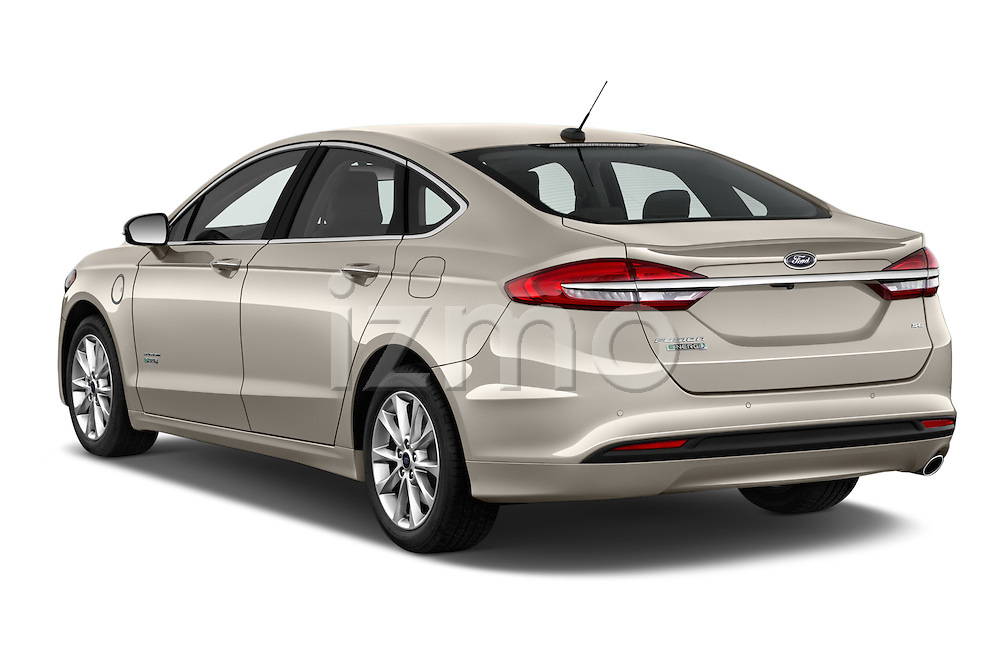 Car pictures of rear three quarter view of 2017 Ford Fusion Energi Plug-In Hybrid SE Luxury 4 Door Sedan Angular Rear