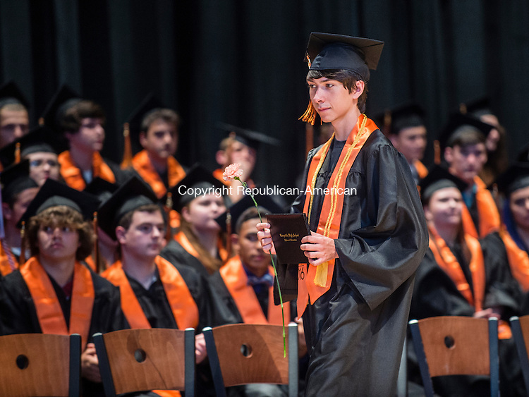 TERRYVILLE, CT- 8 June 2016-060816EC09-  Student David Tyler Betters receives his diploma during Terryville High School's graduation Wednesday night. Erin Covey Republican-American